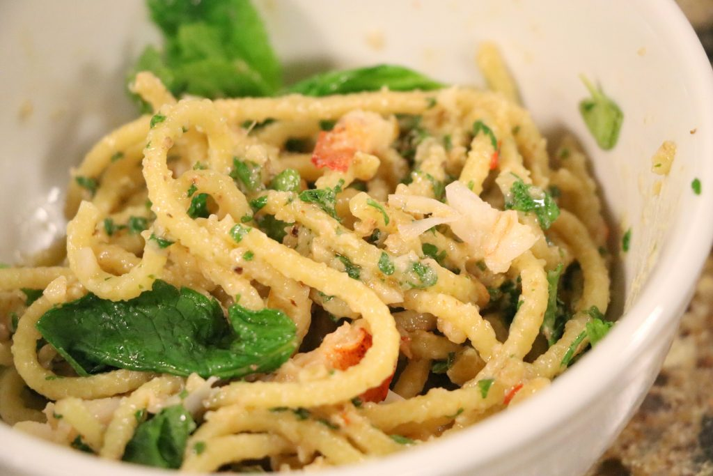 Spaghetti with Lobster, Amber Walnuts, Chili and Fresh Herbs with a(MUSE.) and Grandpa Mac