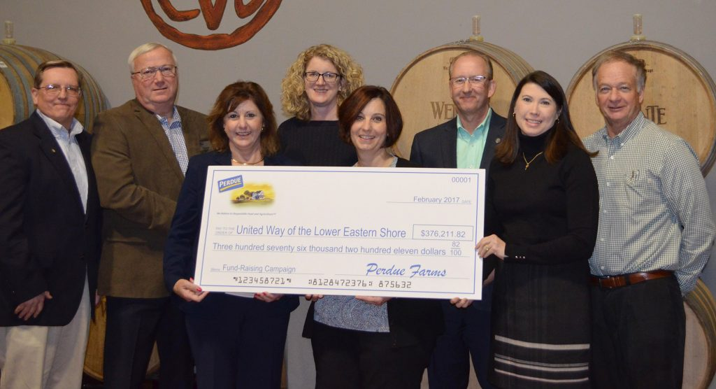Perdue Farms Presents Record Donation to Lower Shore United Way