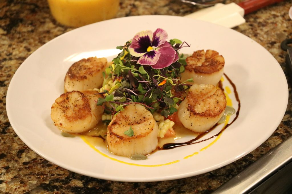 Pan Seared Scallops and Micro Greens with Rehoboth Beach Country Club