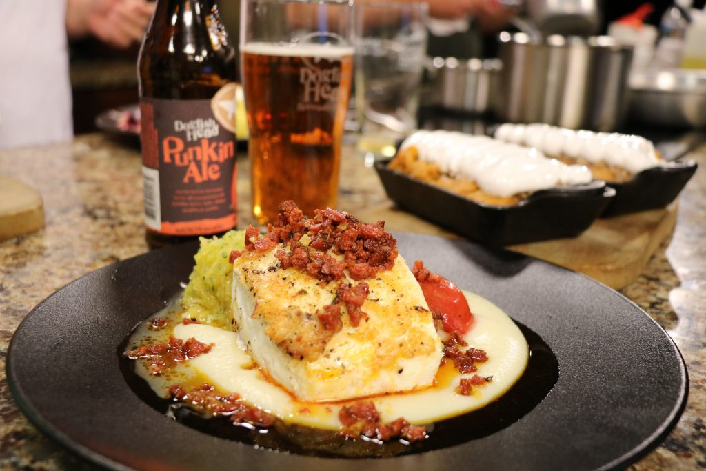 Seared Halibut and Sweet Potato Souffle with Dogfish Head Brewings and Eats: DelmarvaLife Facebook Live Recipes – Oct. 10, 2017