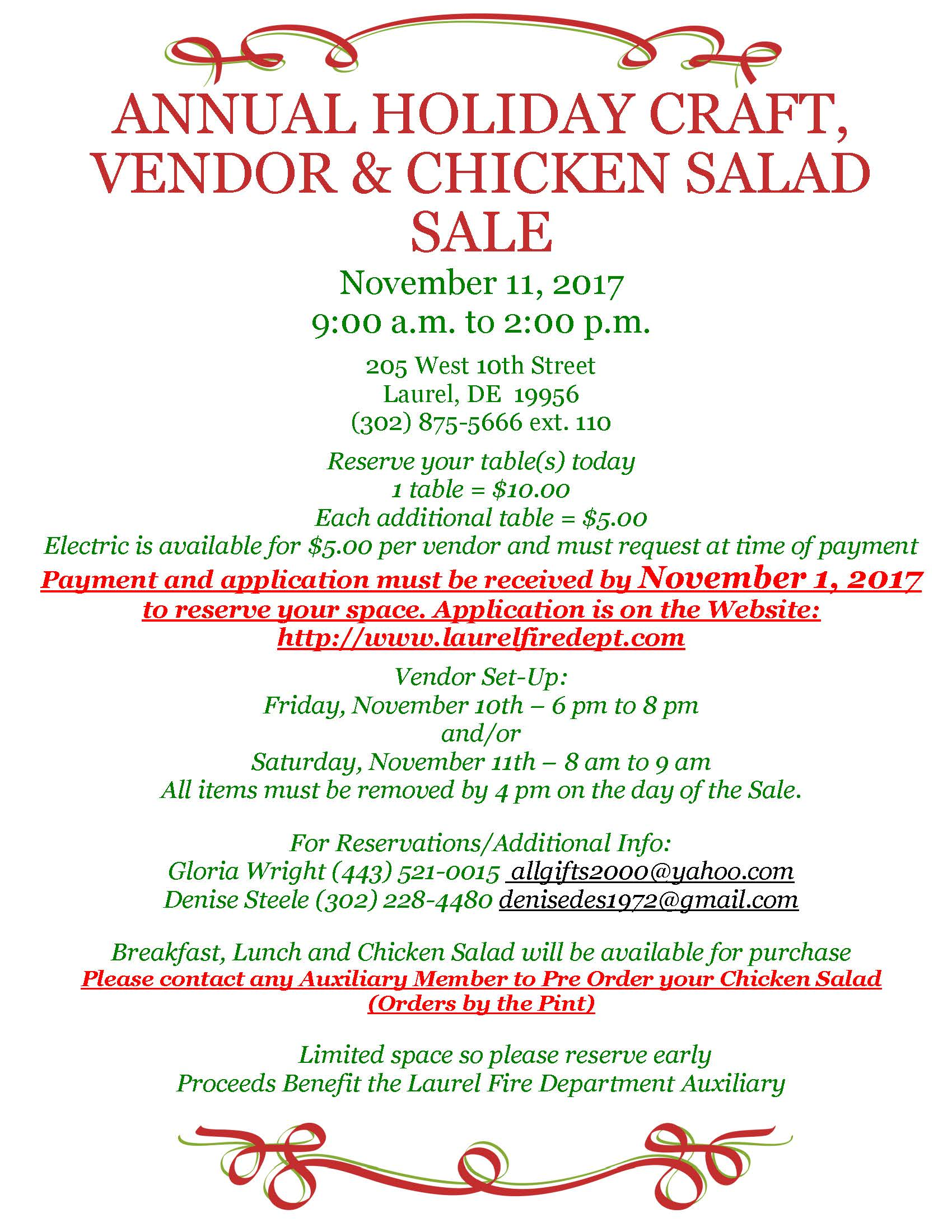 Laurel Fire Department Auxiliary Annual Holiday Craft Vendor Chicken Salad Sale Sat Nov 11 2017 From 900 To 200 205 West 10th Street