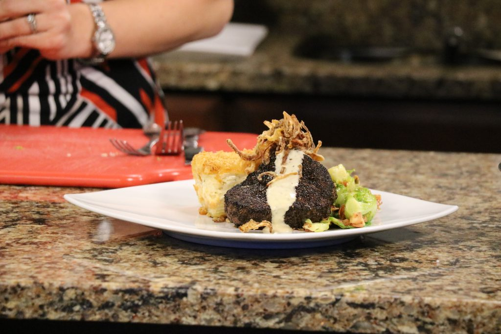 DelmarvaLife Live Cooking: Espresso and Cracked Pepper Filet, Four Cheese Potato Gratin, and Bacon Braised Brussels Sprouts – May 9, 2018