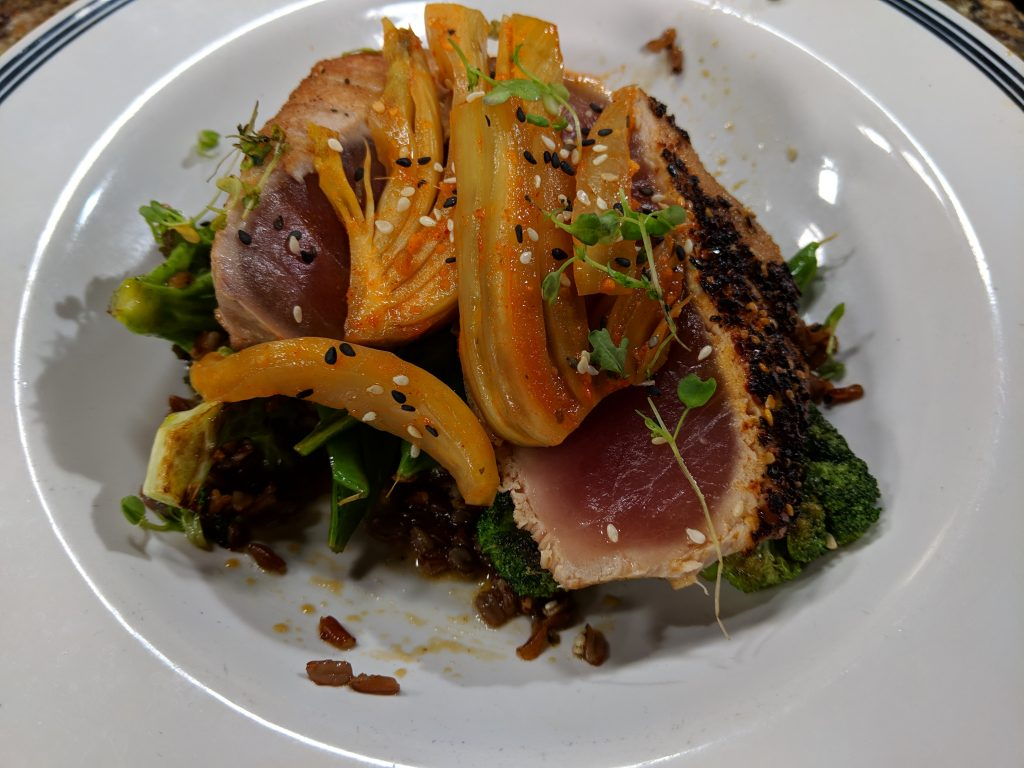 Shichimi Encrusted Tuna and Pan Seared Scallops with Just Hooked