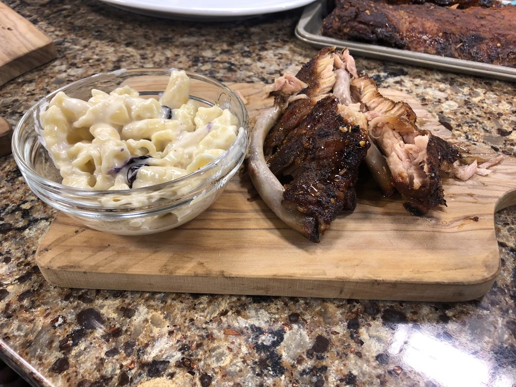 Baby Back Ribs with Blueberry Mac and Cheese and a Mango Habanero Chicken Burger with Plate It