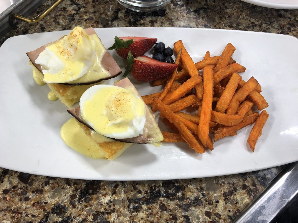 Eastern Shore Eggs Benedict and Pepper Crusted Seared Ahi Tuna on Cinnamon Mashed Sweet Potatoes with Bill's Prime Seafood and Steaks