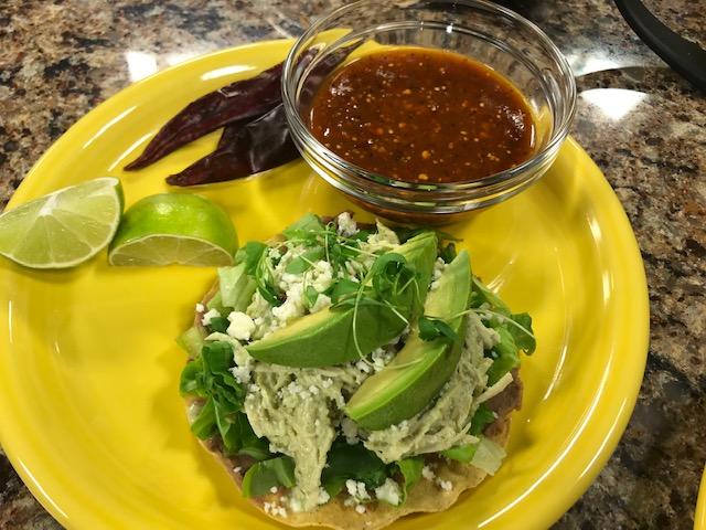 "Tostada Pollo al Cilantro and Capirotada ""Mexican Bread Pudding"" with Casita Linda"