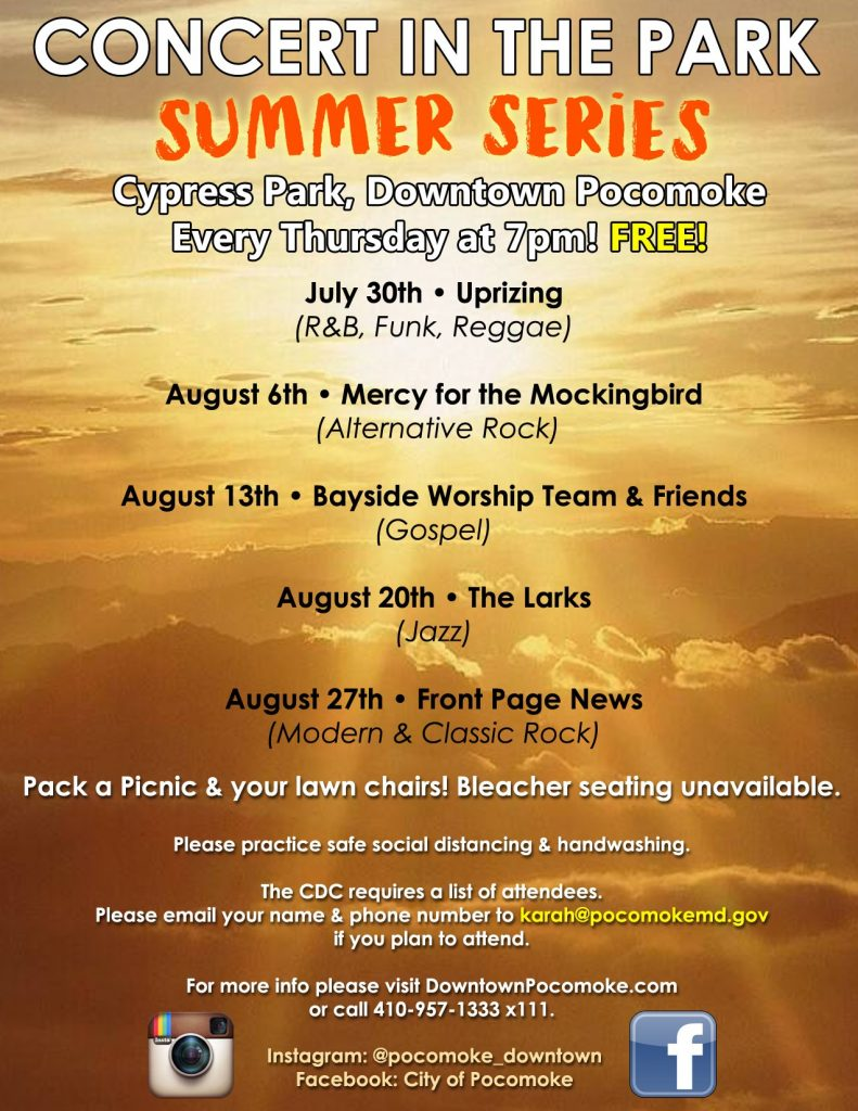 City of Pocomoke Hosting Summer Concert Series