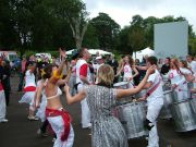 You cant have a party without Samba - Bristol Samba raise the viube with probably the first ever procession in a skatepark!