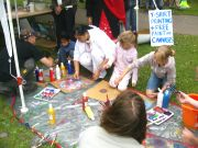 Larry kept the kids busy with his painting workshop