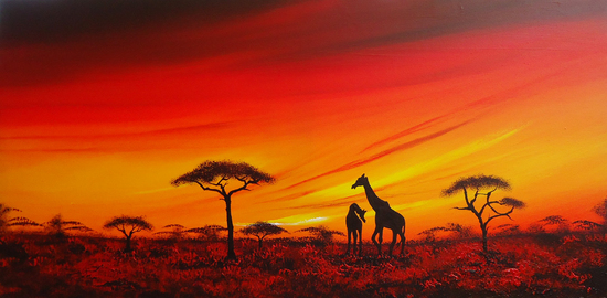 African sunset with Giraffes - Acrylic paint on canvas