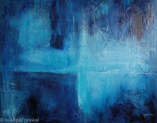 Blue elemental fall acrylic painting on canvas for Blue paintings on canvas