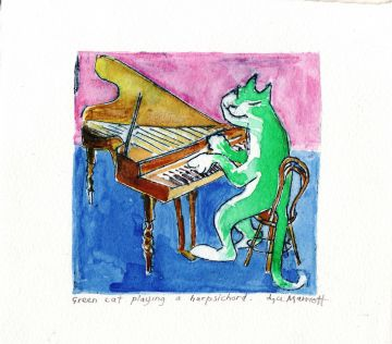 Green Cat Playing the Harpsichord