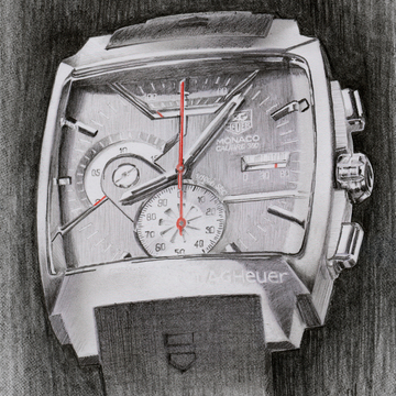Tag Heuer Monaco Watch Drawing