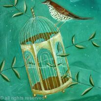 Gilded Cage with songthrush