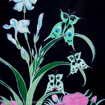 Blue iris with butterflies