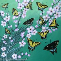 Swallowtails with blossom