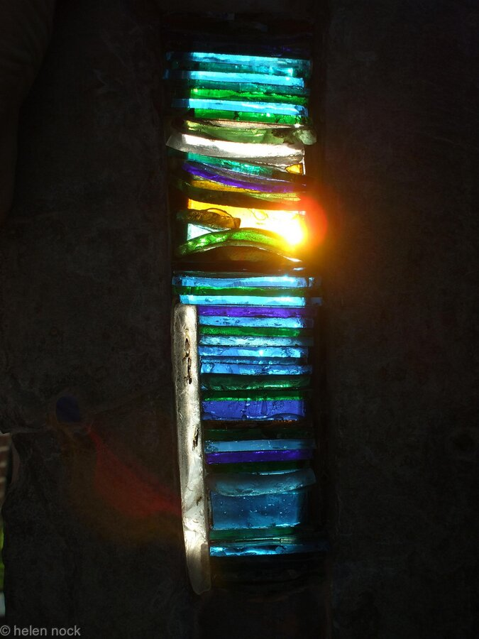 Light Blessings, Arrow-slit design stained glass window feature for exterior wall - Slate ...