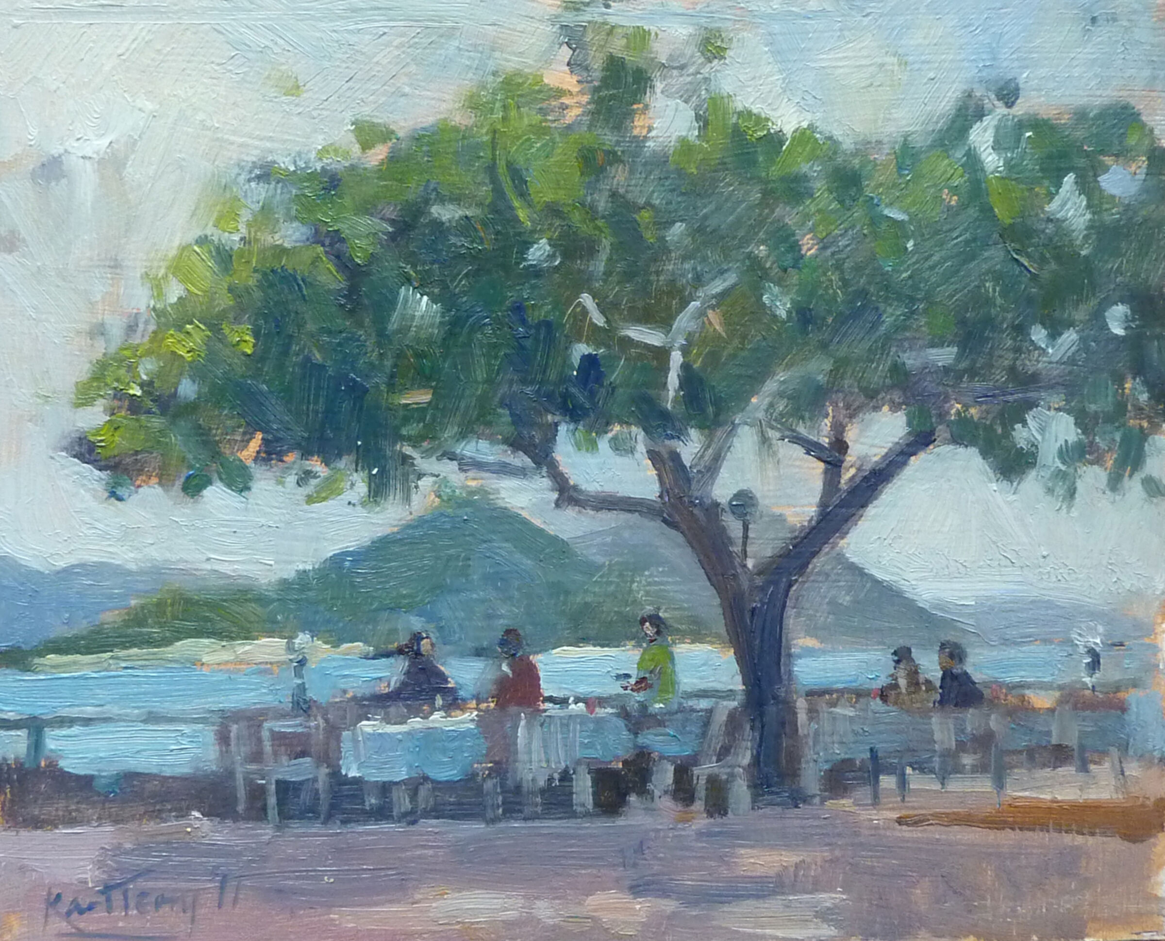 Under the badamier tree , La Digue