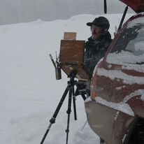 My good friend Skip Whitcomb, painting in Colorado..who said painting was for wimps!