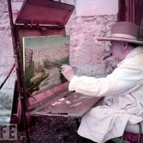 Sir Winston Churchill at his easel. Well I havent painted with him, but have painted in his footsteps and couldnt resist adding this photo!