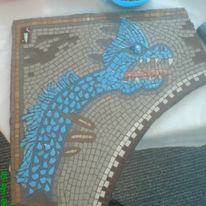 MOSAIC MONSTER  I MADE FOR A COMPETITION BY FISHBOURNE ROMAN PALACE.A child designed a Mythical Beast, and the prize was to have it turned into a  Mosaic.