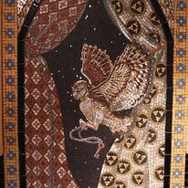 The Owl. Mosaic I made for my kitchen as a backdrop behind the cooker.