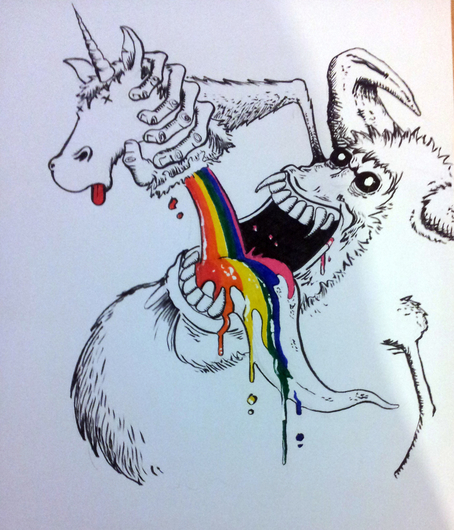 Demon drinking the blood of a unicorn