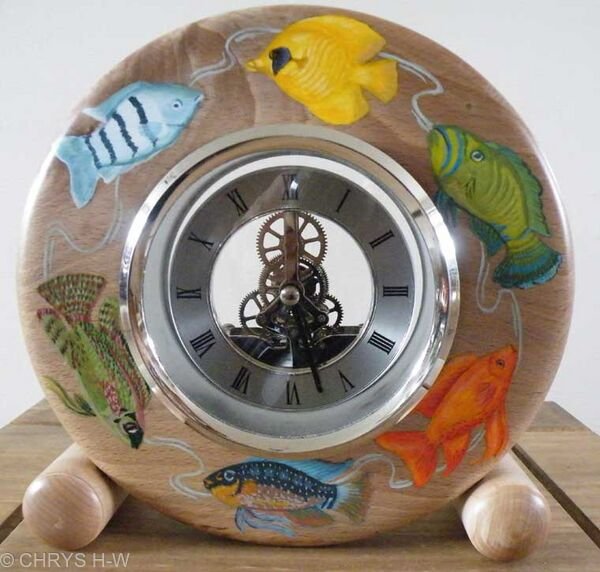 Fish clock turned wood with tropical fish decoration