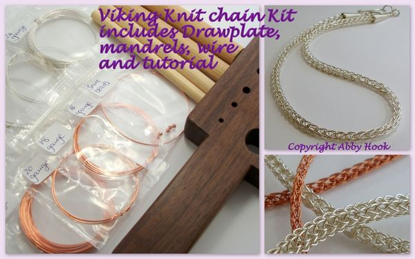 Viking Knit chain Kit - includes Drawplate, mandrels, wire and tutorial