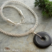 Viking knit chain necklace with Black Agate - Sale - 30 percent discount