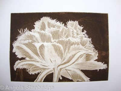 Cool Cystal Aquatint Etching Sepia