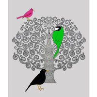 Three Bird Tree - ( grey, pink and green) madebysteph