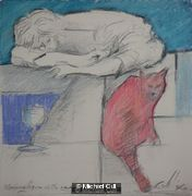 Sleeping figure with cat