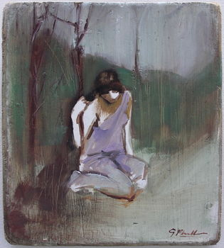 girl on wood