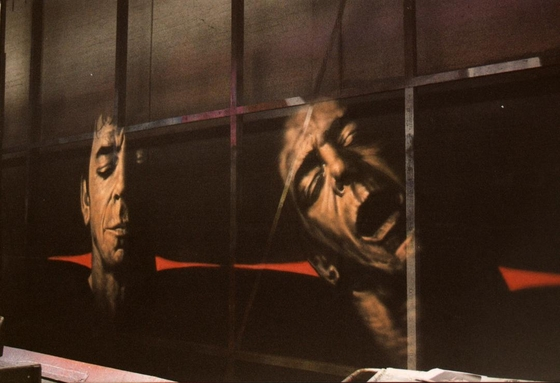 Lou Reed on Gauze..you can use a lot of lighting effects on gauze which won't work on canvas.