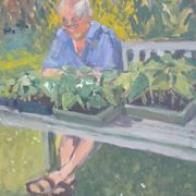 The Gardener Reading a Newspaper
