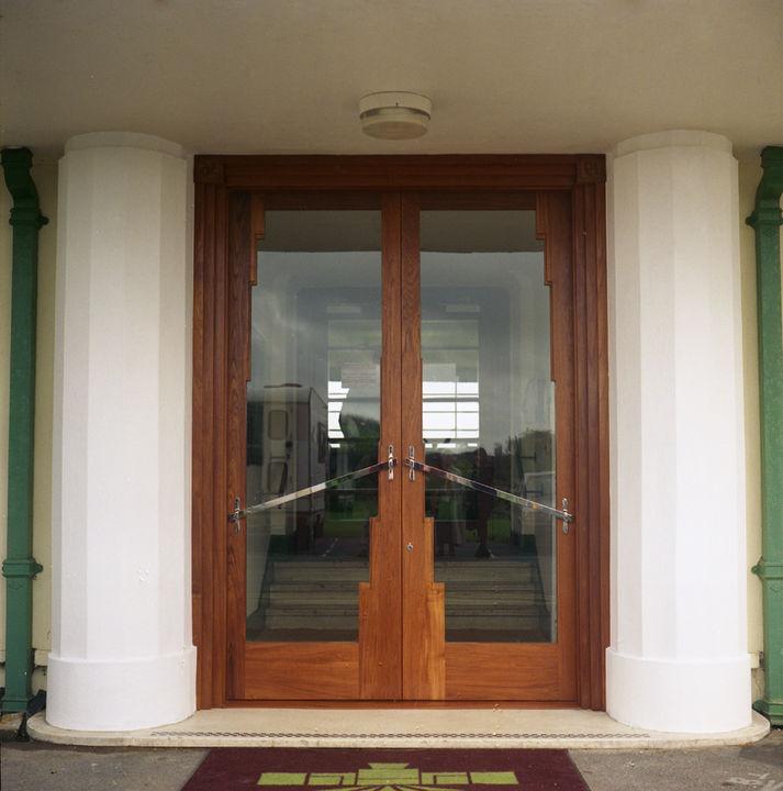 Art Deco Style Doors Solid Teak Chromed Steel Glass