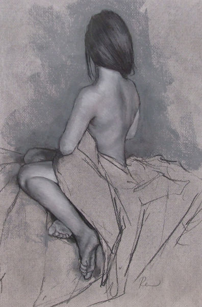 Pastel study for Seated on Blue Uchiakake