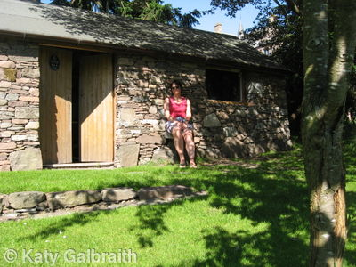Katy outside the Bothy in the Sun