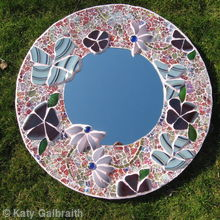 Circular Mirror with Blue flowers