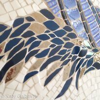 Bathroom Mosaic - detail of the tail feathers