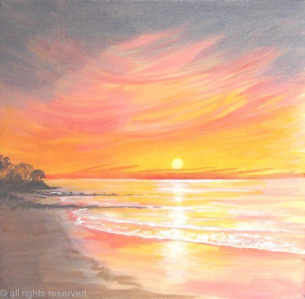 Sunset - acrylic on 3d canvasAcrylic Paintings Sunset