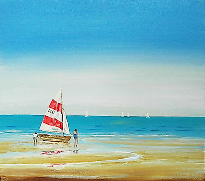 Sailing Boat - acrylic on 3d canvasAcrylic Paintings Sunset