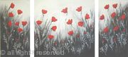 Black and Silver Poppy Triptych
