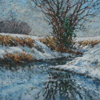 Brook-Stream-Winter. pastel