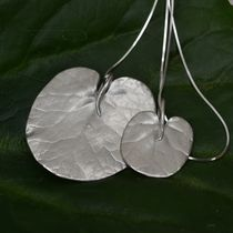 Handmade silver lily pad necklace (small)