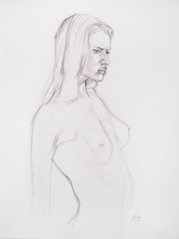 Young Woman 3 drawing