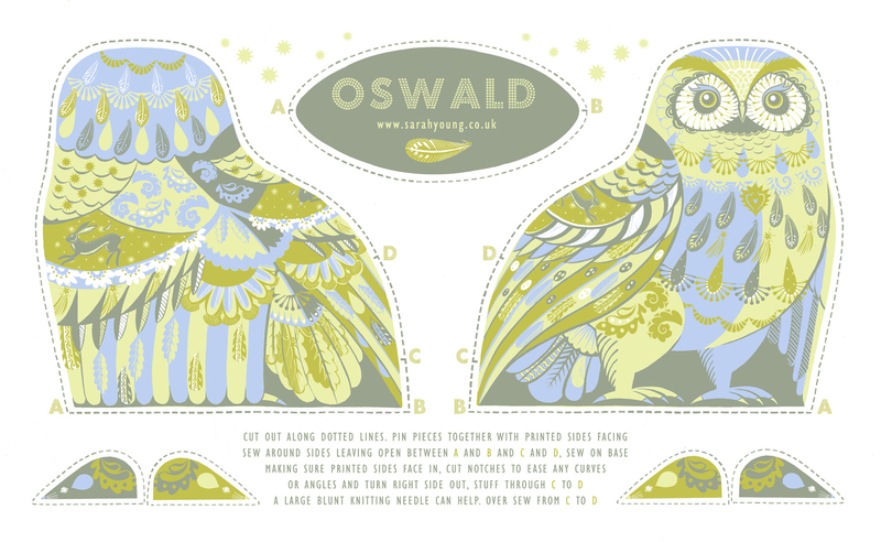 Oswald the Owl tea-towel
