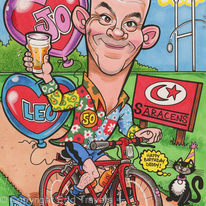 Cyclist's 50th Birthday Gift Caricature