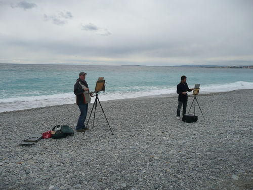 Karl Terry and Paul Rafferty on the beach at Nice